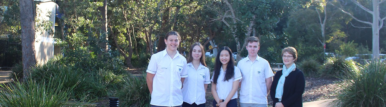 School Captains, Ben Anderson, Alyssa Hall, Doeun Kim, Cooper Tancred and Principal Sue Xenos