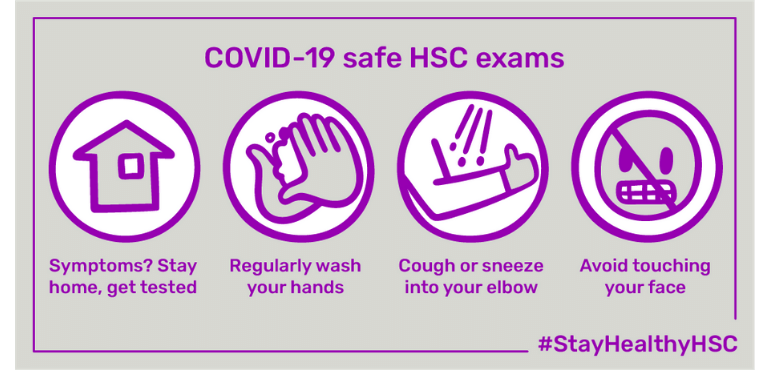 four images, stay home if unwell, wash hands, cover cough, don't touch face - stay healthy HSC